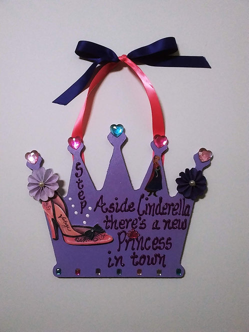Purple Princess Wooden Wall Hanging Crown