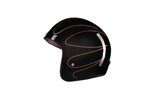 CAPACETE CAFE RACER GLOSSY BLACK GOLDEN