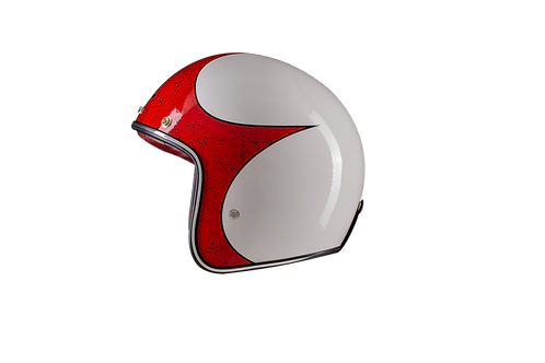 CAPACETE MUD GLOSSY WHITE RED