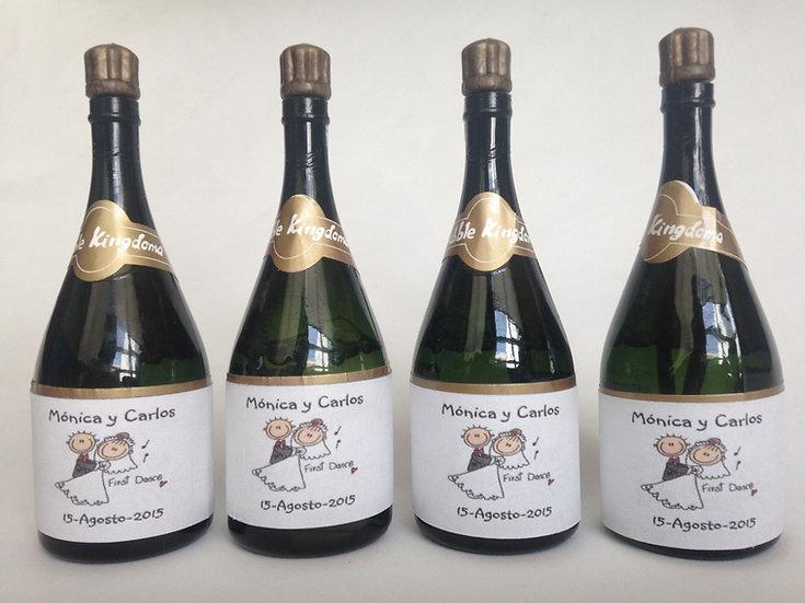 Burbujas en botella de champagne