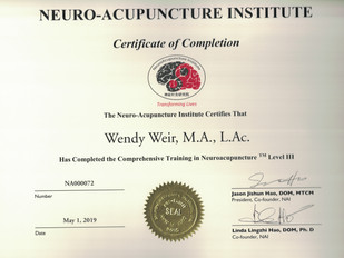 Dr. Weir is certified in Neuro-Accupuncture!