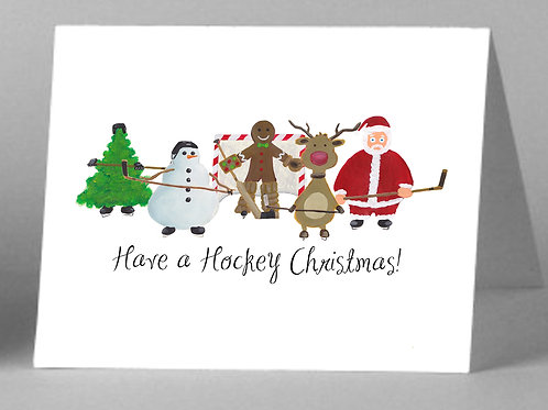 6-Pack Assorted Hockey Christmas Greeting Cards