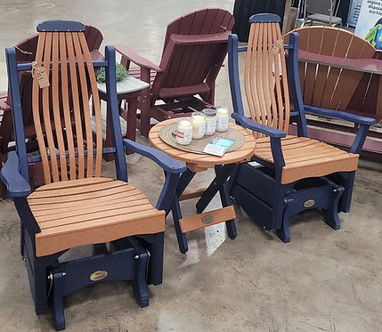 "Bent Back  Cedar and Blue Gliders with 22"" Round Table"