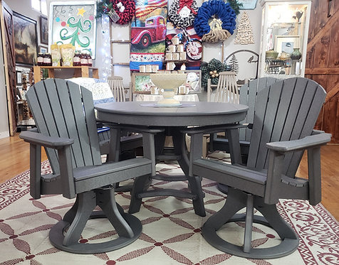 """42"""" Grey Dining Table With  Swivel Chairs"""