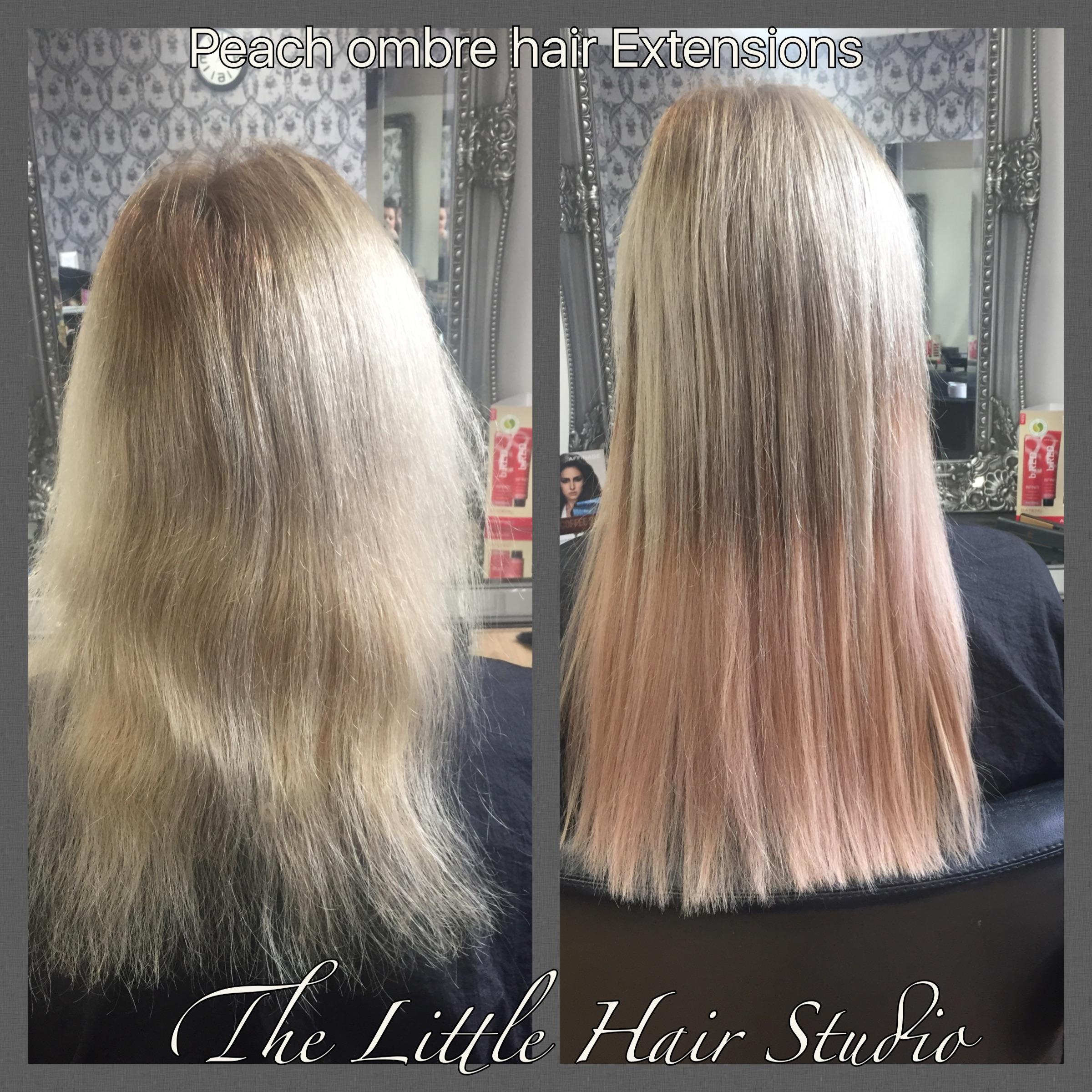 """16"""" peach dip dye hair extensions"""