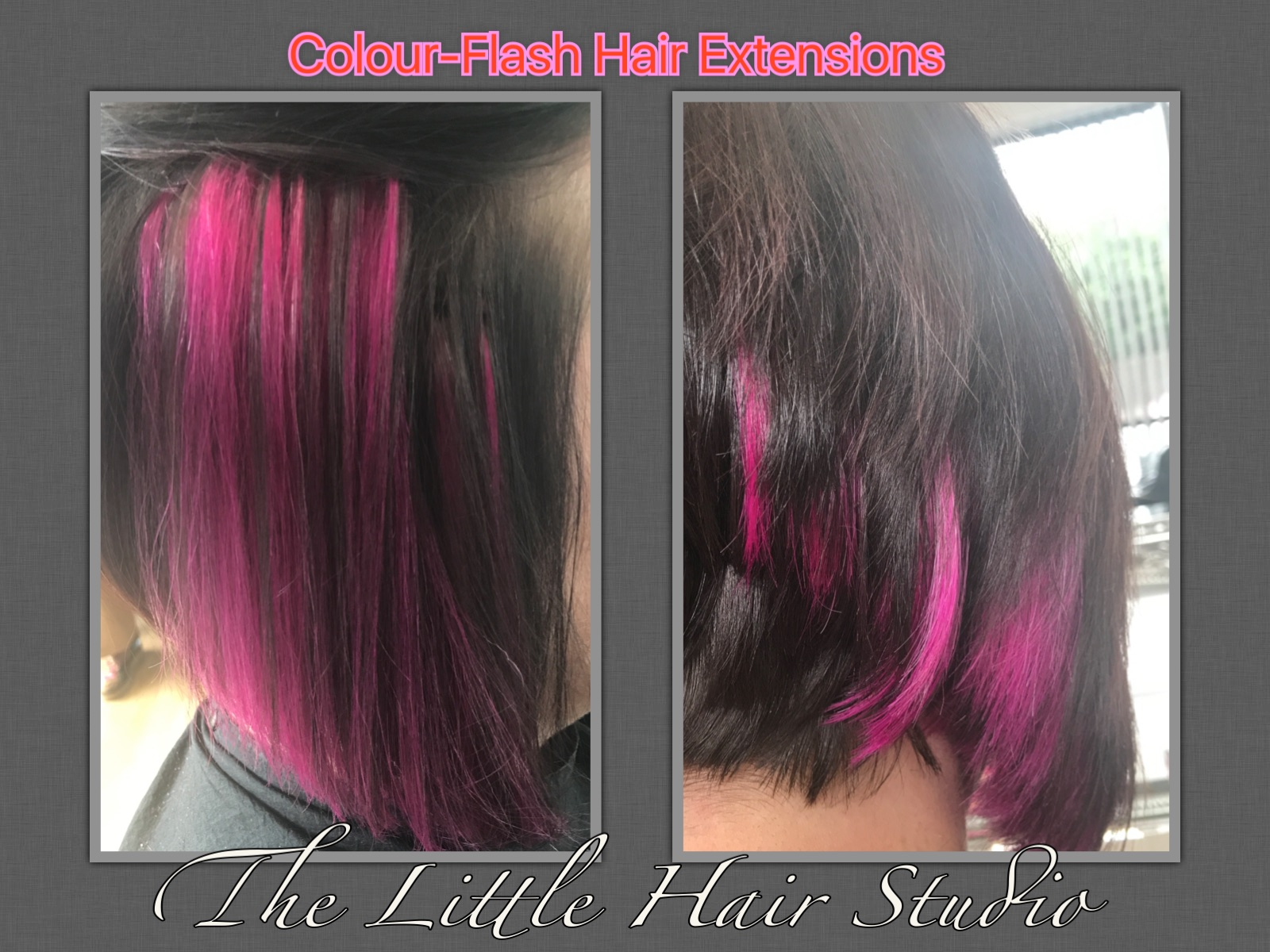 Pink colour-flash hair extensions