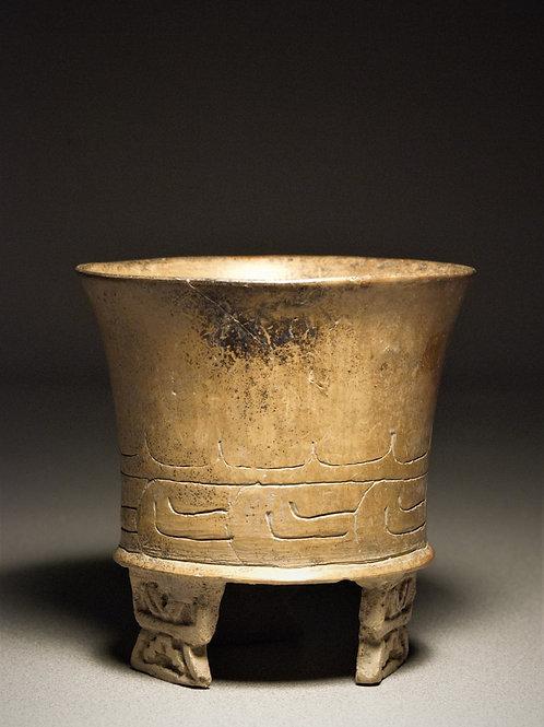 Teotihuacan incised tripod vase