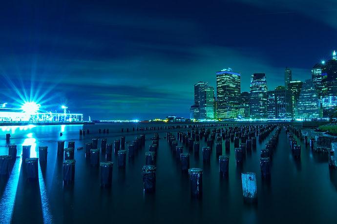 New York, City, Skyline, brooklyn bridge park, night