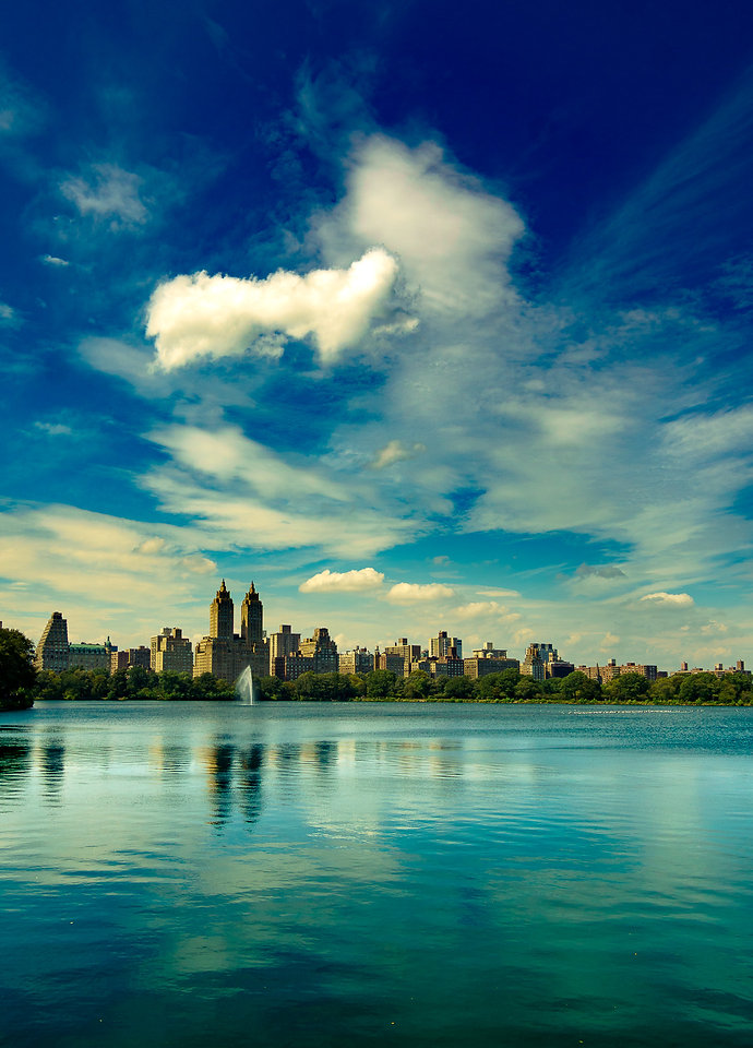 New York, City, Central Park, Park lane, Clouds, water, lake