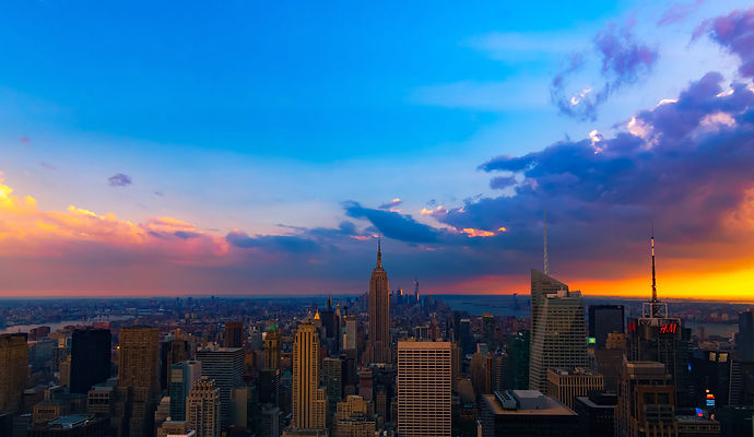 New York, City, Empire state building, clouds, view from the top, top of the rock