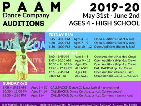 PAAM Dance Company Auditions May 31st – June 2nd!