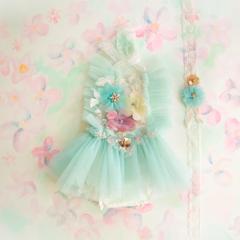 HandMadebyLululu_Mint flower dress (12 mos)