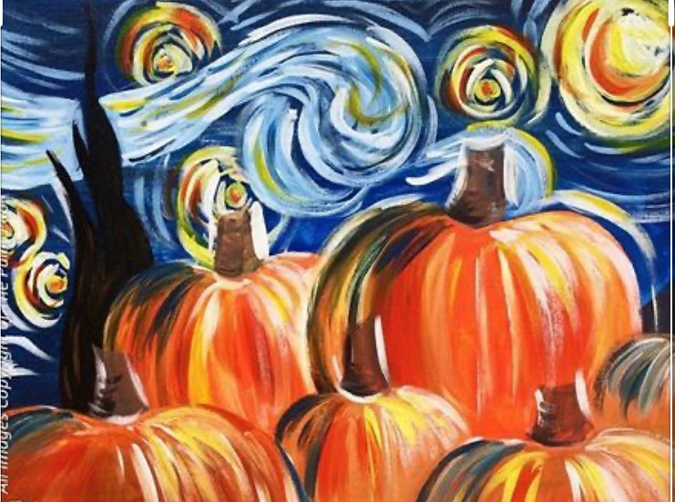 SOLD OUT! Starry Fall, Paint Class of Saturday November 14th at 6:30pm