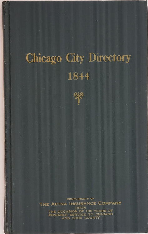 CHICAGO CITY [Historical] DIRECTORY 1844