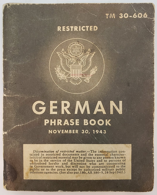 German Phrase Book, November 30, 1943