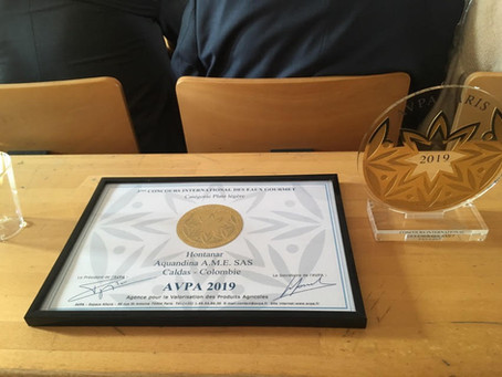 Ganadores del Oro en el Concurso Internacional de Aguas Gourmet de La AVPA de París