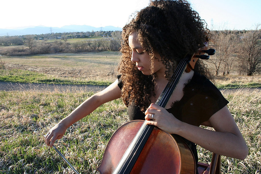 Playing cello outdoors