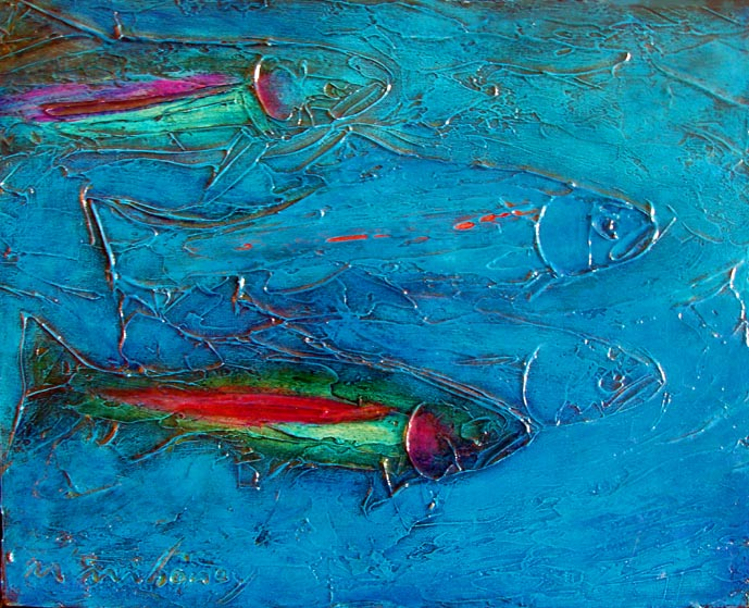 Four Trout Blue 16x20.JPG