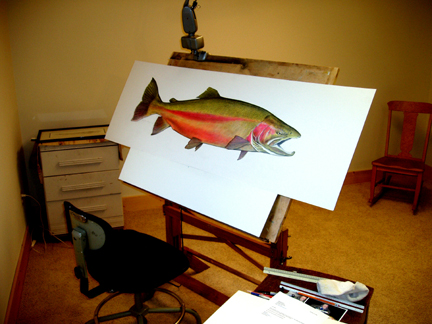 Painting Large Steelhead.JPG