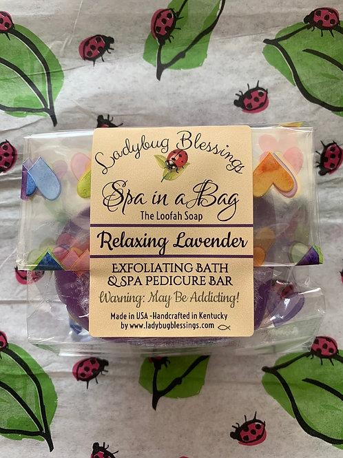 Relaxing Lavender Mini Loofah Soap