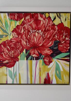 White Vase, Red Flowers