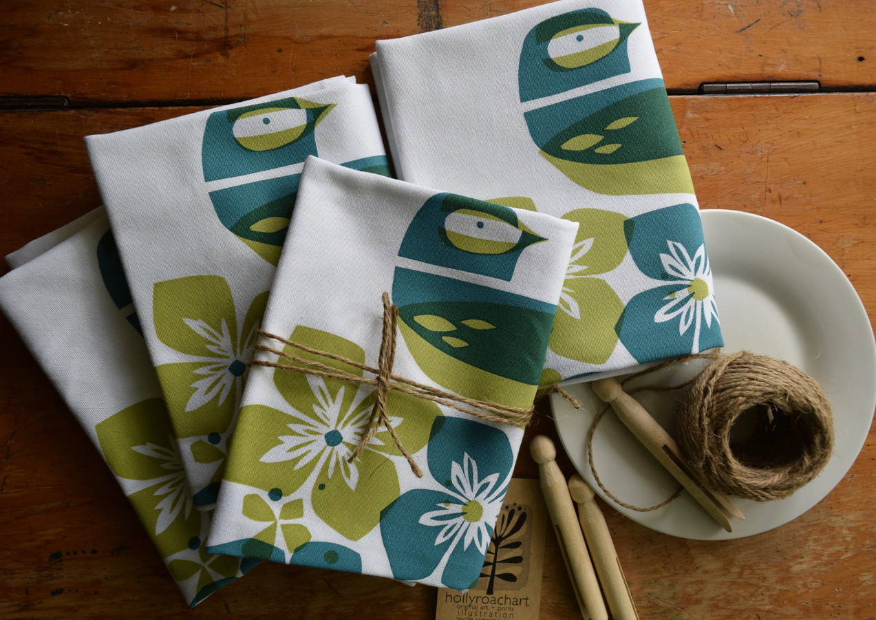 Fantail + Hydrangea tea towel
