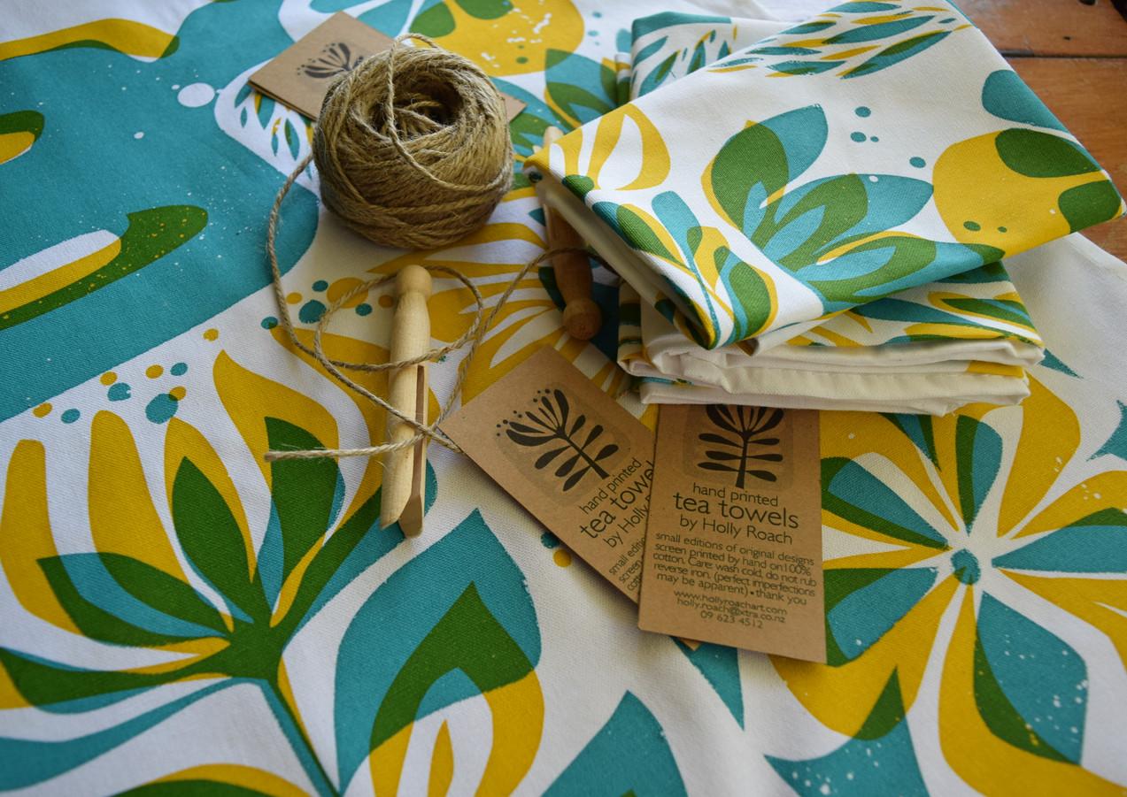 Bird + Flowers tea towel