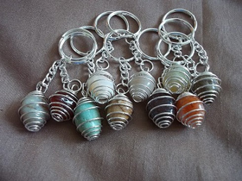 Spiral Gemstone Key-rings