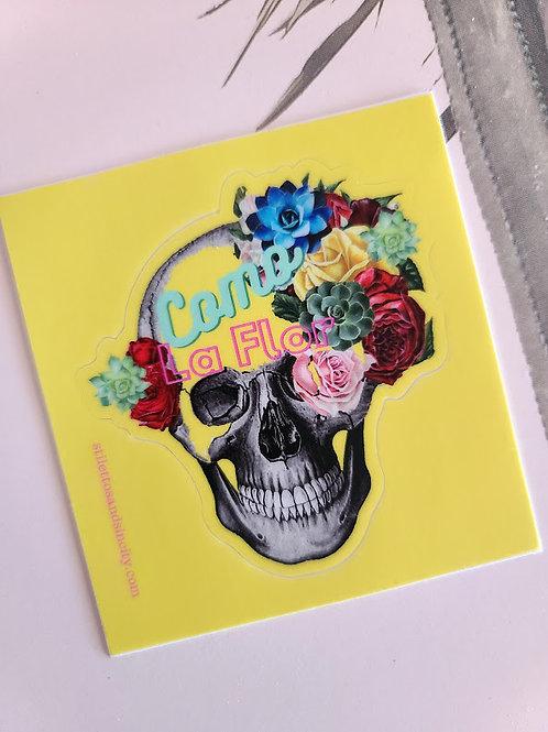 """Como la Flor Skull 3"""" Die cut sticker"""