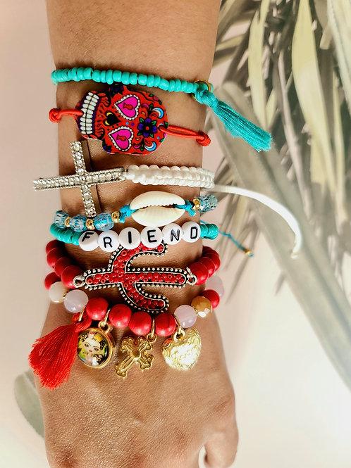 Multi Color Friend Bracelets (set of 7)