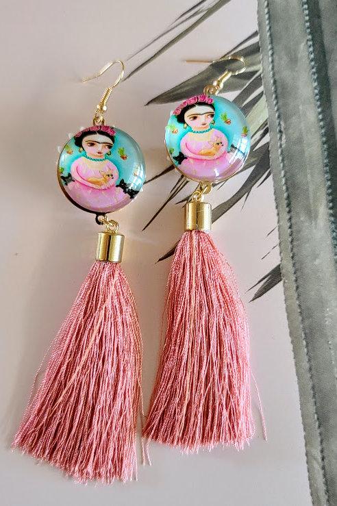 Frida color tassel earrings
