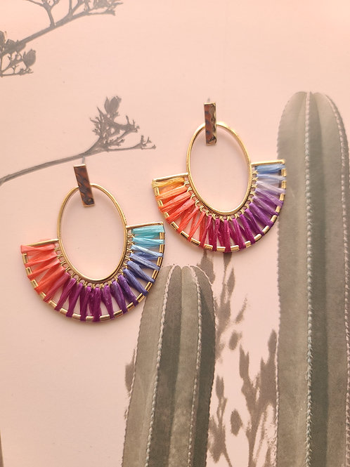 Matte Gold Rainbow Earrings