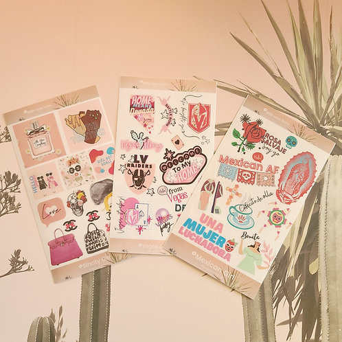 Stilettos Sticker Sheets of 10+ stickers, Mexican girlie Vegas stickers, Calenda
