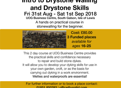 SPACES REMAINING ON DRYSTONE WALLING COURSE