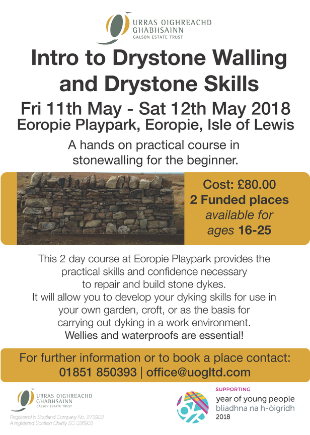 DRYSTONE WALLING COURSE 11-12 MAY 2018