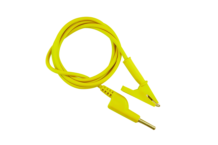 4mm Banana to Alligator Clip Jack Cable 1 Meter - Yellow