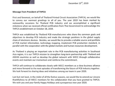 Message from President of THPCA
