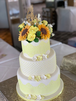 Lemon floral wedding cake