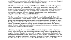 """IJP""""s Press Statement on the News that Ali Kushayb Has Been Surrendered to ICC Custody"""