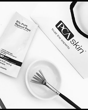 Chemical peel brush on a bowl and packet of peel solution - 6% Retinol Peels at Alpha Aesthetics North Wales