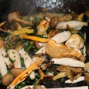 Garlic mushrooms cooking