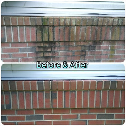 Before and after of a house wash/ power washin