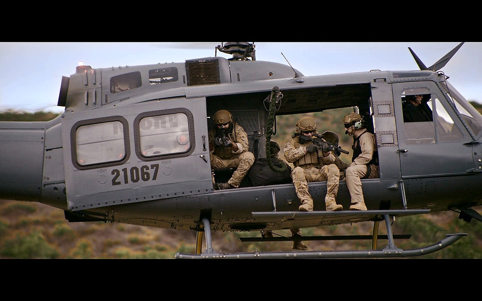 Soldiers in helicopter