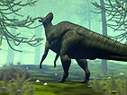 Dinosaur in wooded setting