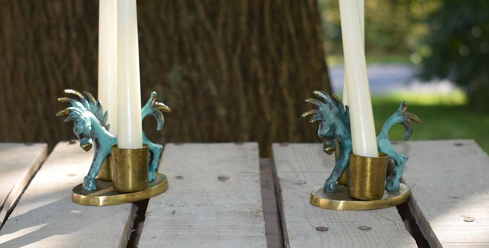 Copper Horse Candle Sticks