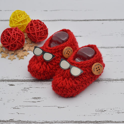 Crochet Booties with Spectacle patch