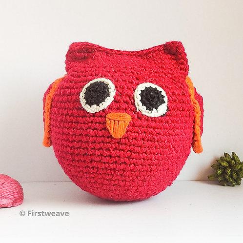 Owl Ball Red with Orange Beak