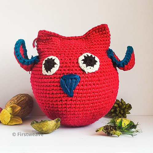 Owl Ball Red with Blue Beak