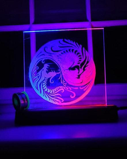 Yin Yang Dragons Glass Lights