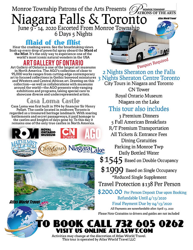 Patrons Niagara Falls and Toronto June 9